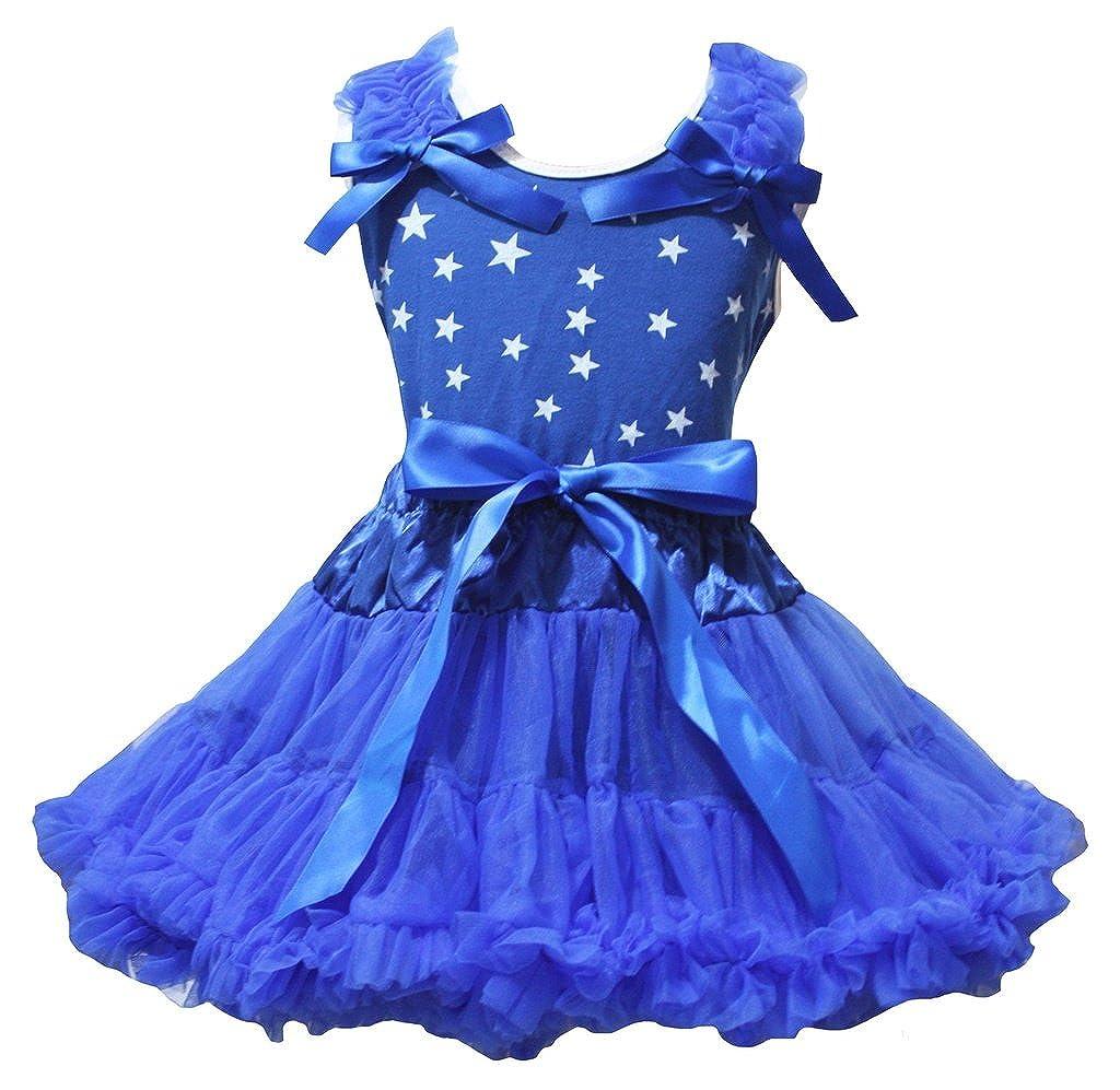 Petitebella Dress Stars Shirt Ribbon Royal Blue Skirt Set 1-8y