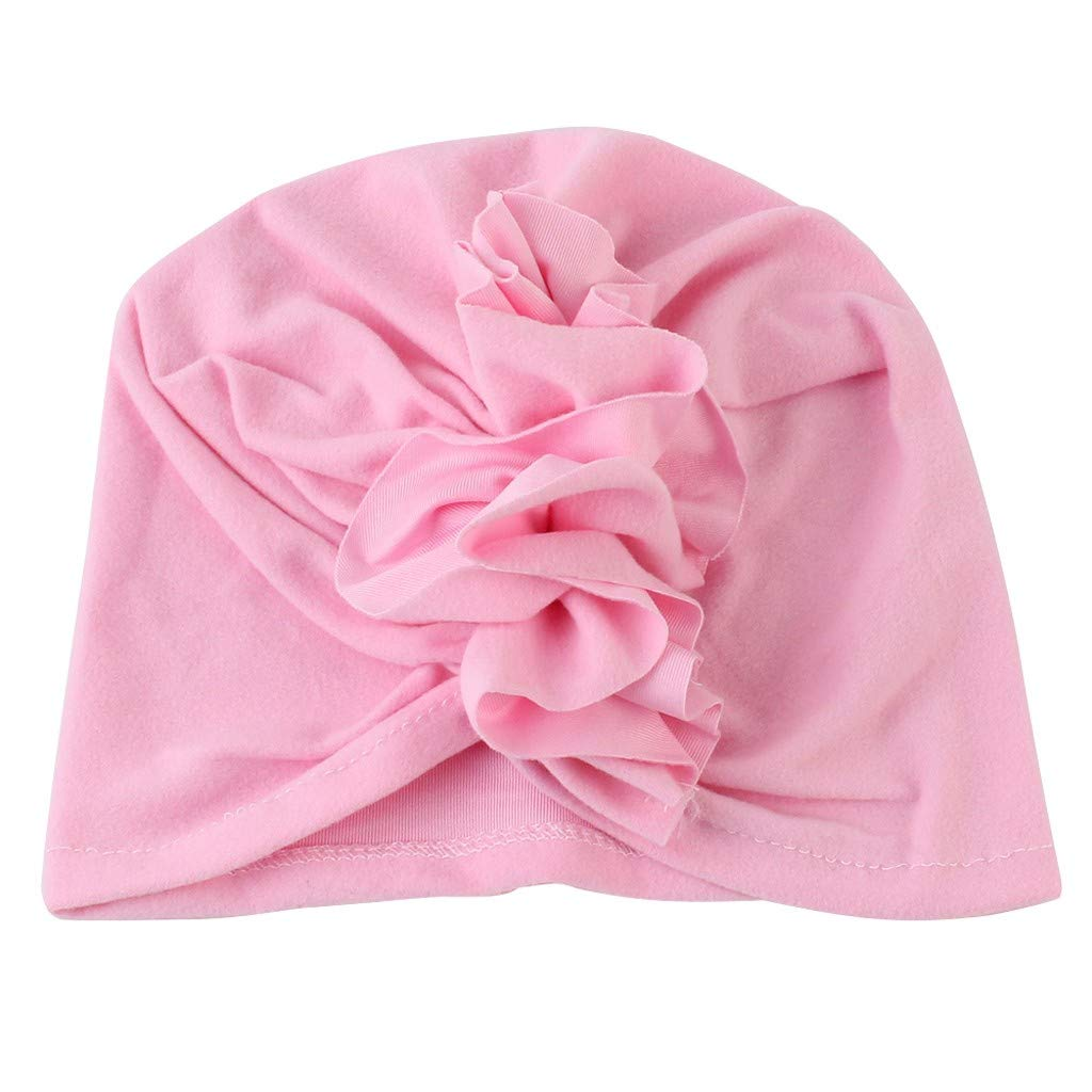 Girls Boys Soft Coton Head Wrap Hat Cute Fashion Ruched Hats Pink