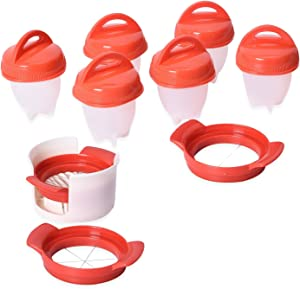 Egg Boiler Poachers Steamer 3 Piece Multi Functional Egg Slicer Cutter 6 Piece Silicone Egg Cups Boilers White Red