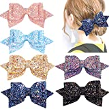 accessories 6PCS Glitter Hair Bows for Girls 5 Inches Big Bling Sparkly Sequin Hair Bows Alligator Hair Clips Hair Accessories for Baby Girls Kids Children Teens Women Party