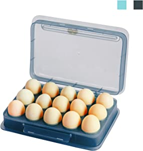 WOONEY Egg holders, Plastic Covered Egg Container for Refrigerator, Portable Stackable Tray Eggs Storage Box, Fits 15 Eggs