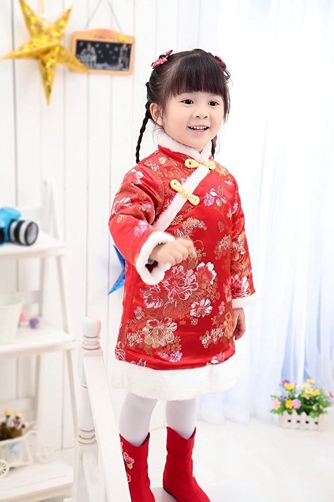Hooyi Children Girl Quilted Jackets Kid Qipao Winter Outerwear Coats For Girls Tang Dress