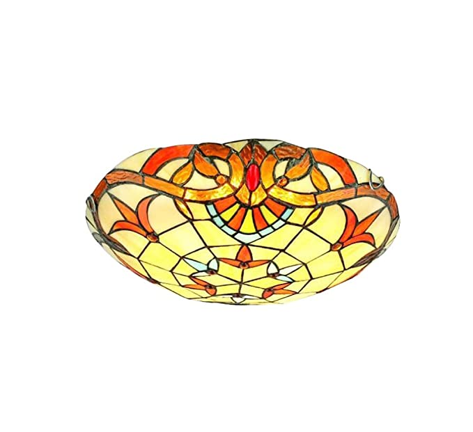 LED Tiffany Style Ceiling Light Hand Crafted Stained Glass ...