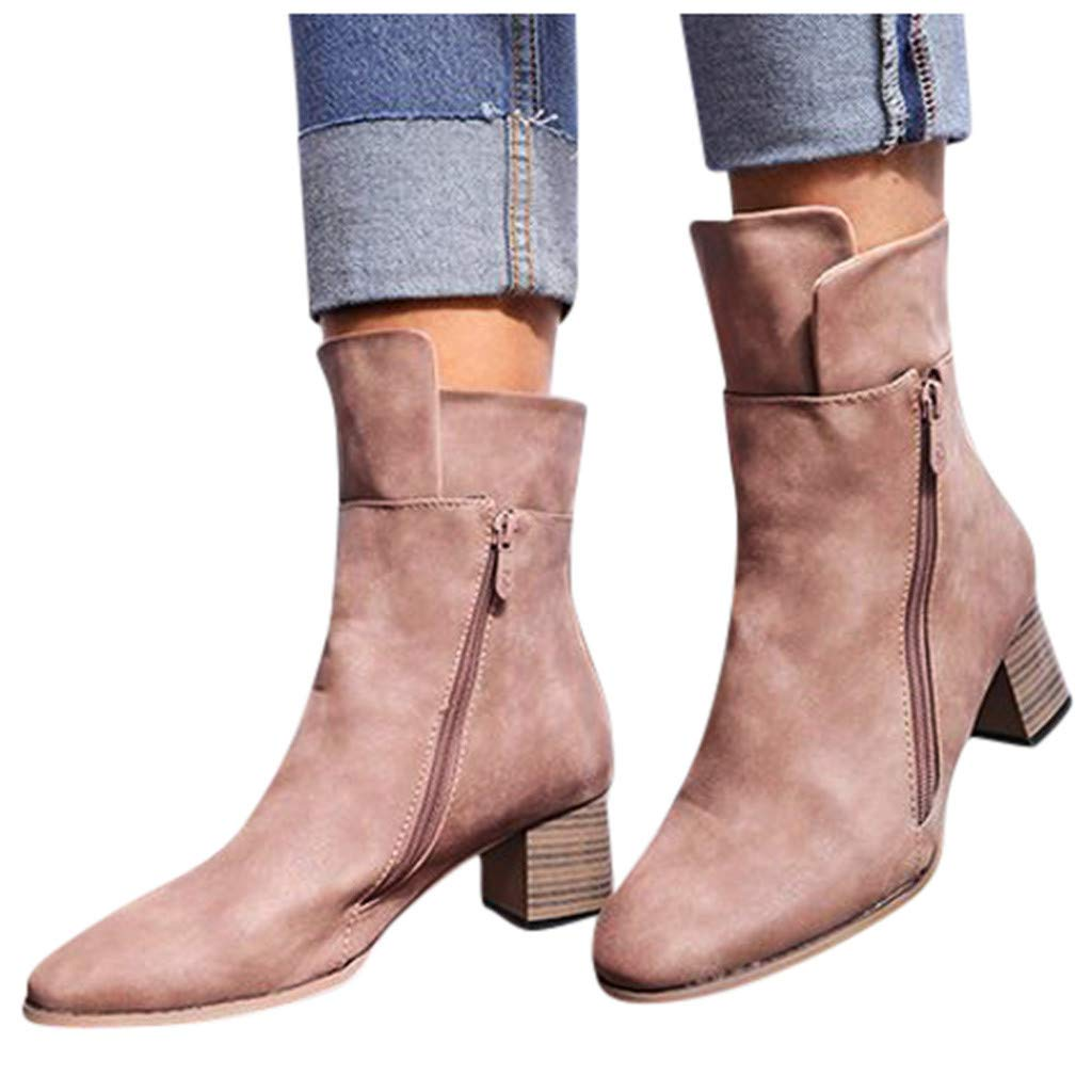 Riding Boots for Women Fashion Flats Round Toe Low-Heeled Casual Shoe Western Cowboy Knight Boots Beige by Frunalte Women Shoes