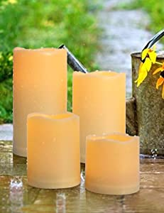 HOME MOST Set of 4 Outdoor LED Pillar Candles with Timer 3x3 3x4 3x5 3x6 - Waterproof Flickering Flameless Pillar Candles Battery Operated - Outdoor Plastic Pillar Candles Unscented for Decor