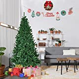 Goplus 5ft Christmas Tree Artificial Unlit Auto-spread/ close up Premium Spruce Hinged Full Tree with Solid Metal Stand for Outdoor & Indoor