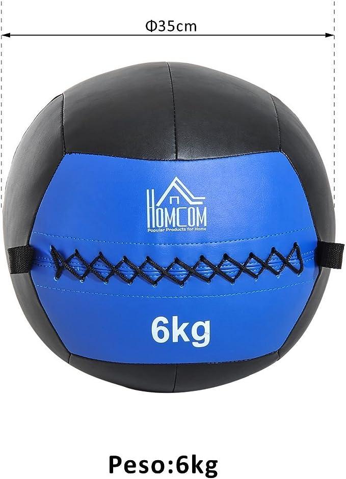HOMCOM Balón Medicinal de Crossfit 6Kg con Asas Tipo Pelota de ...