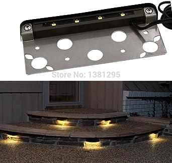 12PCS 12V IP65 Baja tensión Exterior Impermeable LED Deck Paso Escaleras luz Exterior Iluminación de la terraza del piso Lámpara de pared de contención-Blanco cálido_1.5W: Amazon.es: Iluminación