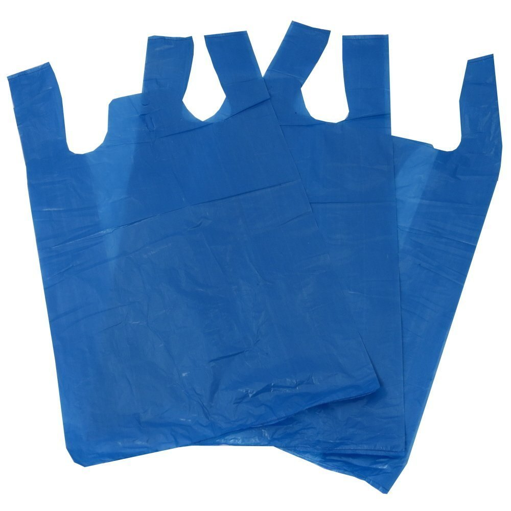 100 Blue Plastic Polythene Vest Style Carrier Bags - Size 11 x 17 x 21' Shopping Gift Boutique Supermarket Cash N Carry Market Stall