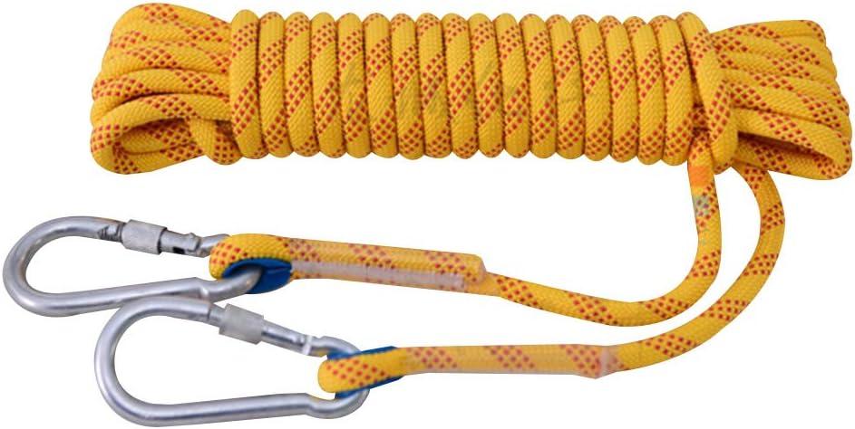 登山用ロープ、 多目的ロープ 12Mm高高度耐摩耗性エアライフセービングエスケープロープナイロンクライミングロープ(黄),30m  30m