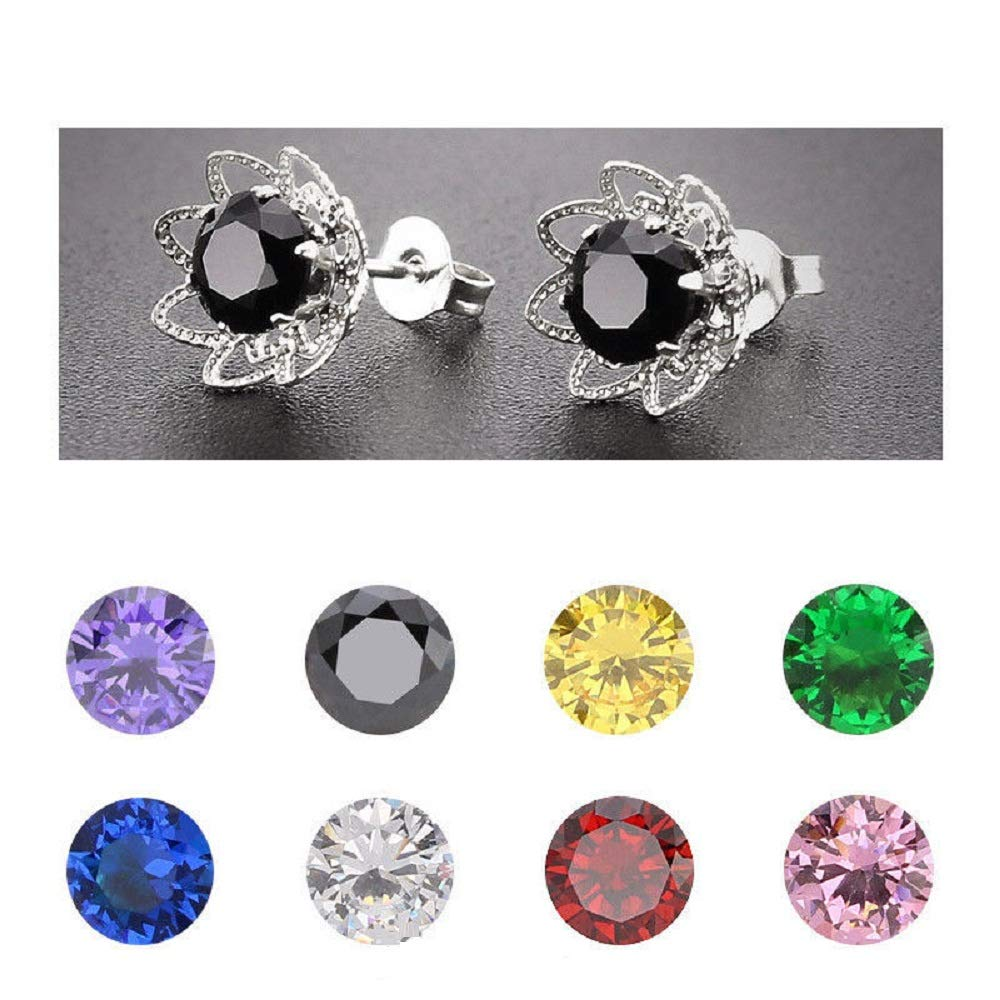 h5/_jc 1 Pair Clear Women Alloy 6 mm Round Cubic Zirconia Rose Flower Allergy Free Stud Earrings