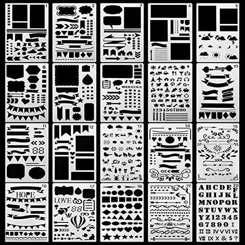 Deeram 20 Pieces Journal Stencil Plastic Planner Stencils, Perfect for Making Christmas Greeting Cards, Journal/Diary/Notebook/Scrapbook DIY Drawing Template Stencil, 4x7 Inch