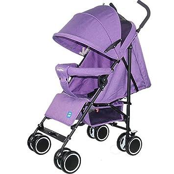 XICHENG Cochecito De Bebé De Cuatro Estaciones Full Mesh Transpirable Sentado Reclinable Bebé Paraguas Carrito Adecuado para 0-3 Años De Edad Bebé,Purple: ...