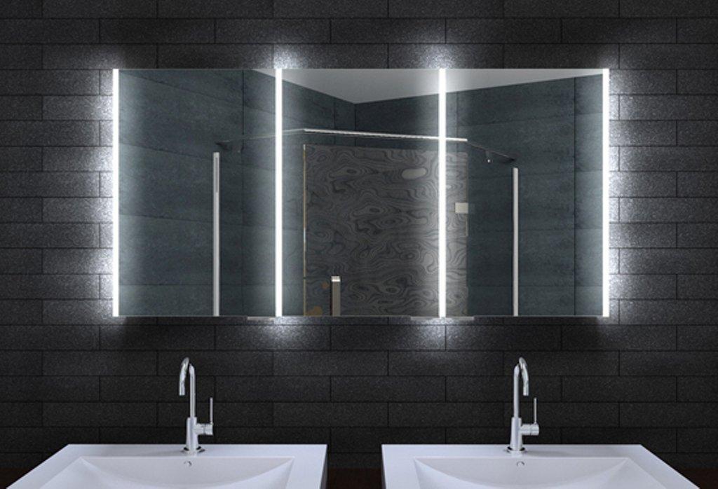 Design Spiegelschrank mit LED Beleuchtung und lichtleitenden Acryl ...
