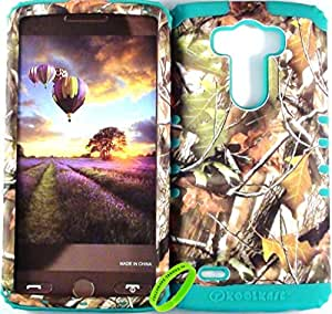 Cellphone Trendz HARD & SOFT RUBBER HYBRID HIGH IMPACT PROTECTIVE CASE COVER for LG G3 LG Optimus G3 D855 D850 - Real Camo Hunter Series Mossy Green Leaves Hard Case Design on Teal