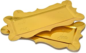 "10 Gold Rectangle Trays for Dessert Table Serving Parties 14"" x 7.5"" Heavy Duty Disposable Paper Cardboard in Elegant Shape for Platters, Cupcake, Birthday Parties, Dessert, Weddings Food Safe"