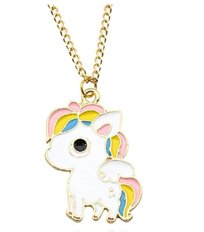 Heyuni. Cute Necklace Vintage Unicorn Love Heart Pendant Cartoon Cute Rainbow Horse Gold Chain Choker Necklace For Little Girls