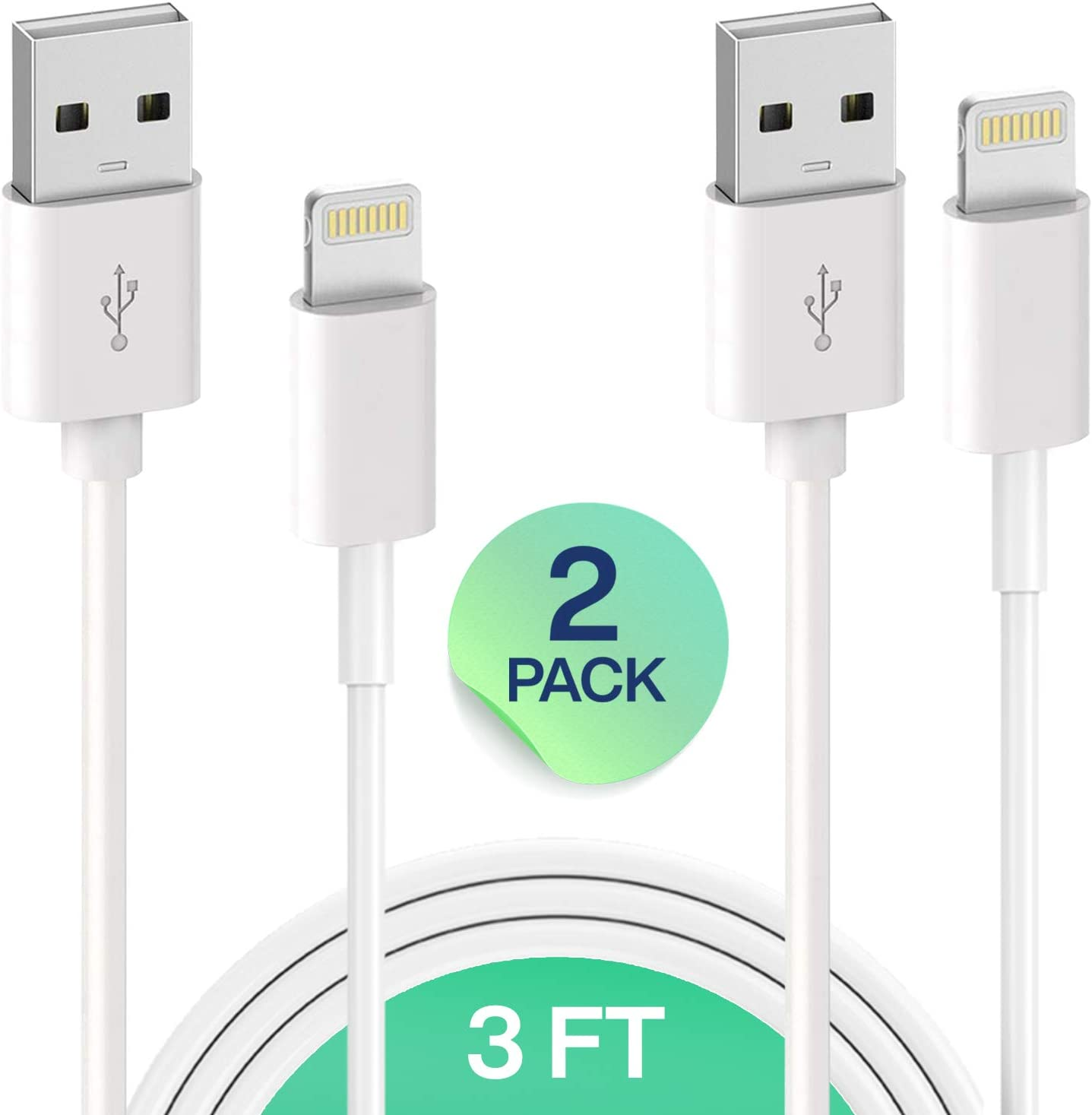 MFI Certified 2 Pack 3FT USB Cable iPhone Charging Cable Charging Cord Compatible with iPhone 11,Pro,Pro Max,Xs,Xs Max,XR,X,8,8 Plus,7,7 Plus,6S,6S Plus,iPad Air,Mini//iPod Touch//Case Truwire