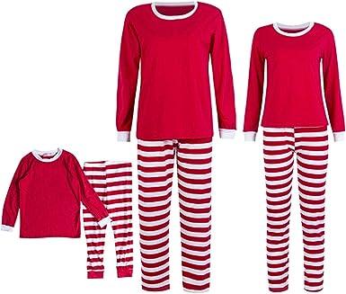 GOWE Pijamas Familiares de Navidad - Algodón Mujer Hombre Niños Rojo Verde Navidad Estilo Raya Manga Larga Pantalones Familiar Talla Grande Ropa de Dormir Dos Piezas, Niños-Rojo1-5T: Amazon.es: Ropa y accesorios