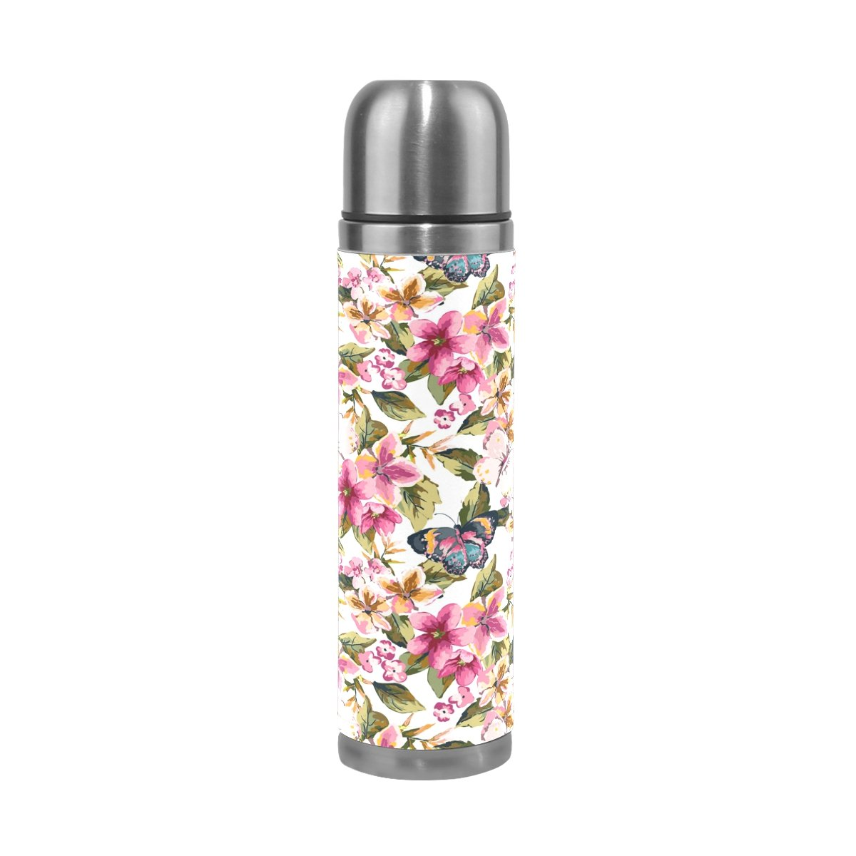 COOSUN Butterfly With Floral Pattern Stainless Steel Flasks Water Bottle Vacuum Insulated Cup Leak Proof Double Vacuum Bottle, PU Leather Travel Thermal Mug,17 oz
