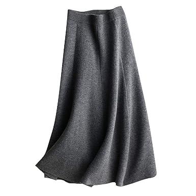 Wenwenma Falda de Punto de Media Longitud de Moda - Falda de ...