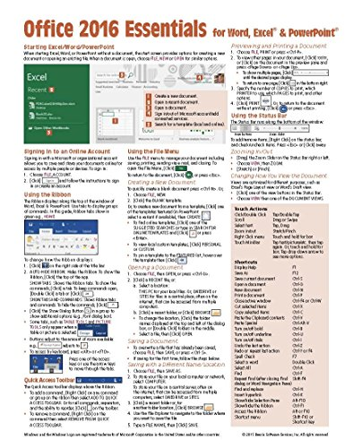 Price comparison product image Microsoft Office 2016 Essentials Quick Reference Guide - Windows Version (Cheat Sheet of Instructions, Tips & Shortcuts - Laminated Card)