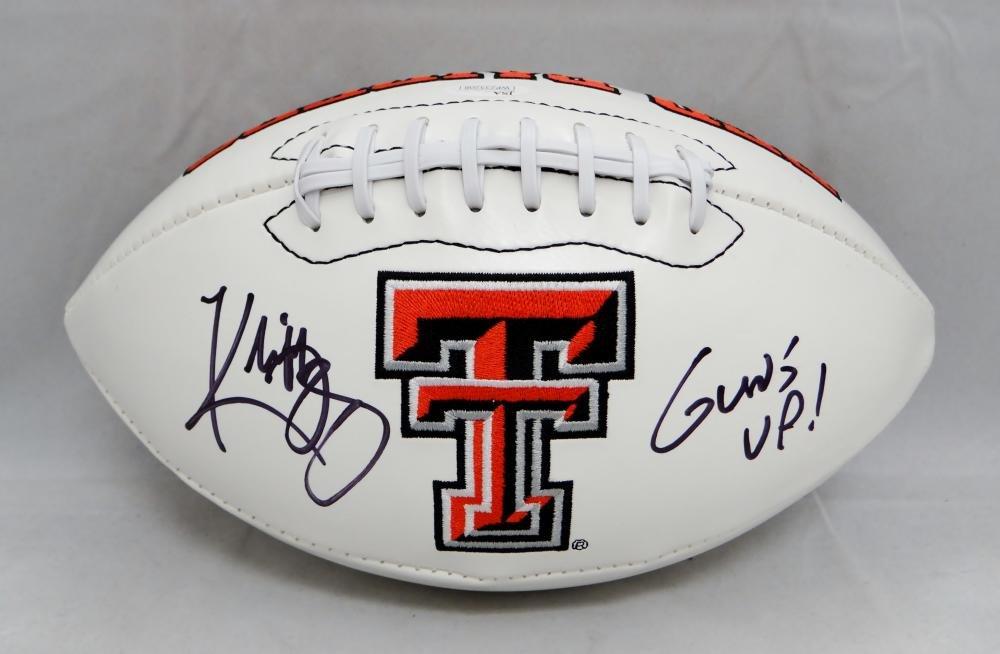 Kliff Kingsbury Signed Texas Tech Raiders Logo Football W/ Guns Up- JSA W Auth
