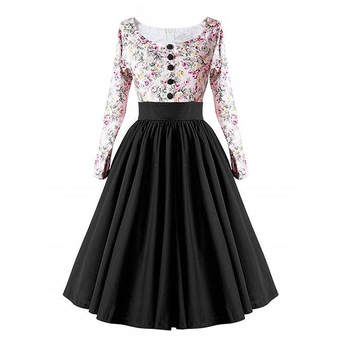 Deylaying Mujer Retro 1950s Empalme Vestido Decorativo Botones Floral Columpio Vestido Fiesta Cóctel Vestido
