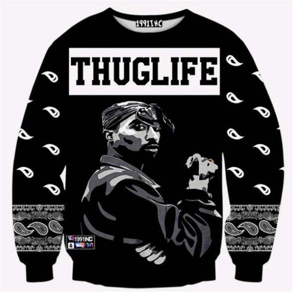 Kleidung Tupac Sweatshirt Hip Hop Jersey Jumper 3D Print 2Pac Pullover Men and Damens Couple Sweater,14,4XL