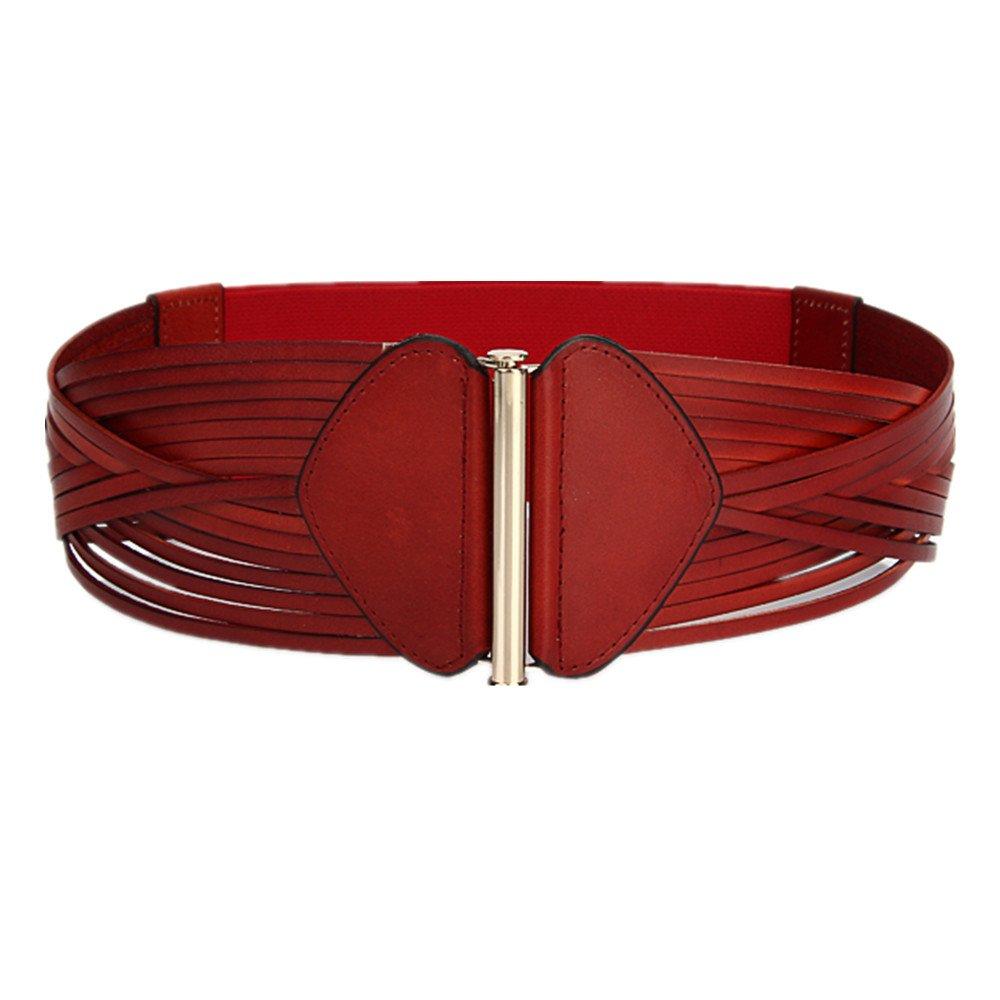 Red Canvas Belt Women's Belt Waist Width Korean Version Leather Red Leather Belt Vintage Accessories Belt (color   Red)