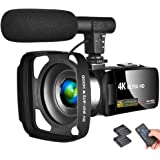 "LINNSE Camcorder 4K Video Camera Vlogging Camera Recorder with Microphone 30MP 3"" LCD Touch Screen Webcam Function 18X…"