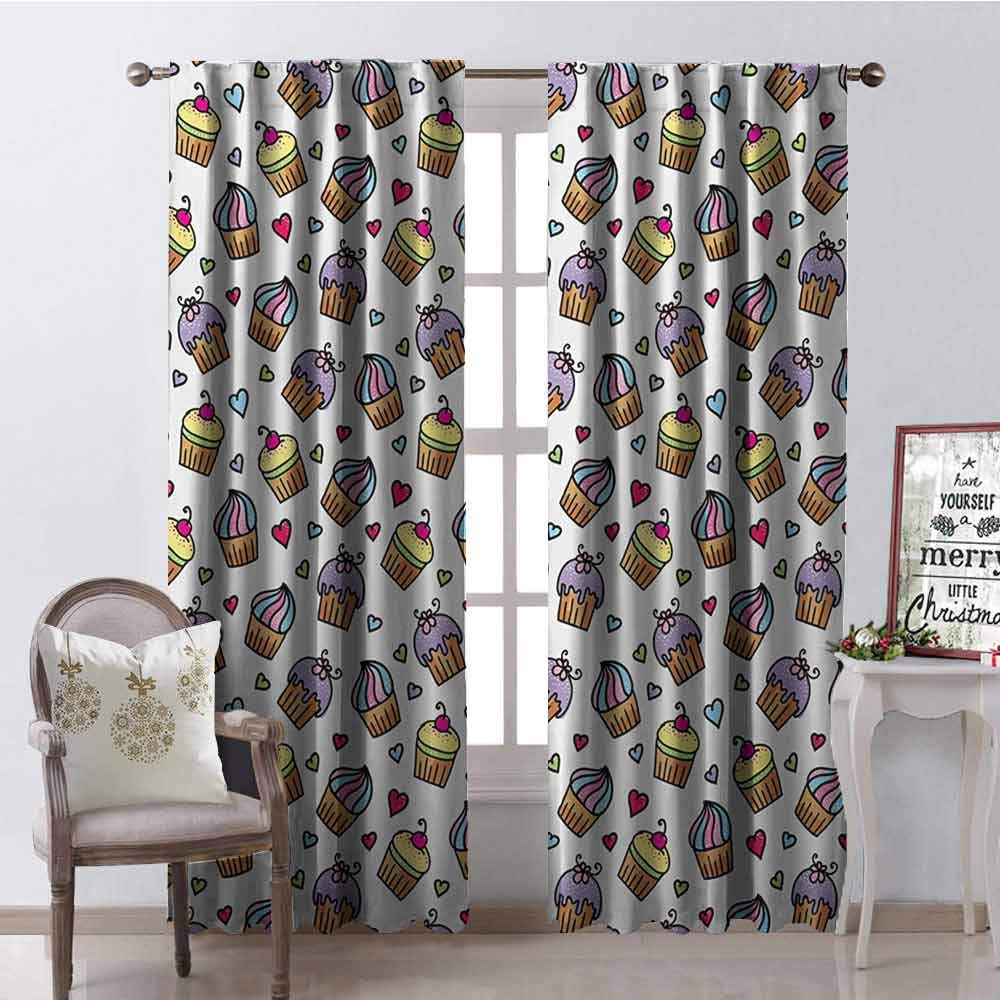 GloriaJohnson Valentines Shading Insulated Curtain Pattern of Cupcakes with Various Toppings and Frostings and Colorful Hearts Soundproof Shade W42 x L84 Inch Multicolor by GloriaJohnson