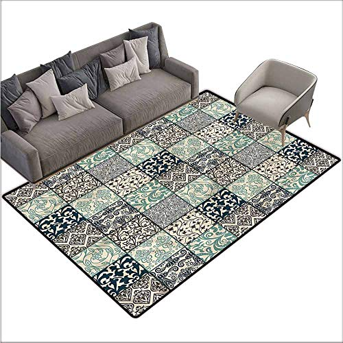 - Polyester Non-Slip Doormat Rugs Colorful Patchwork,Damask and Scroll Flower 48