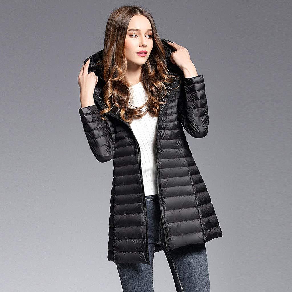 Fauean Womens Hooded Packable Ultra Light Weight Long Down Jacket