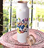 Prisha India Craft Digital Printed Pure Copper Water Bottle Kids School Water Bottle – Mickey Mouse and Donald Design, 1000 ML