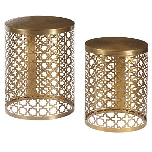 Pulaski DS-D051025 Round Perforated Metal Brass Accent Set of 2 Table, - Pulaski Table Brass