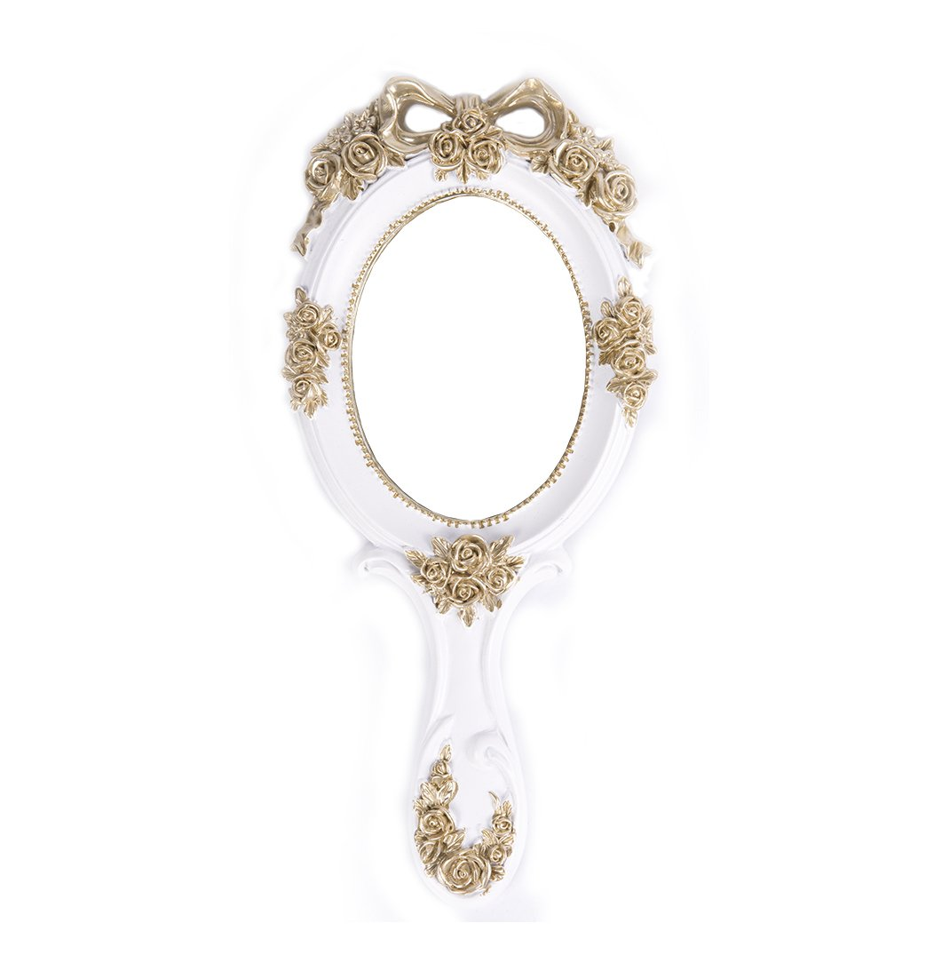 Nerien Vintage Style Rose Hand Held Mirror Princess Oval Vanity Mirror White by Nerien (Image #1)
