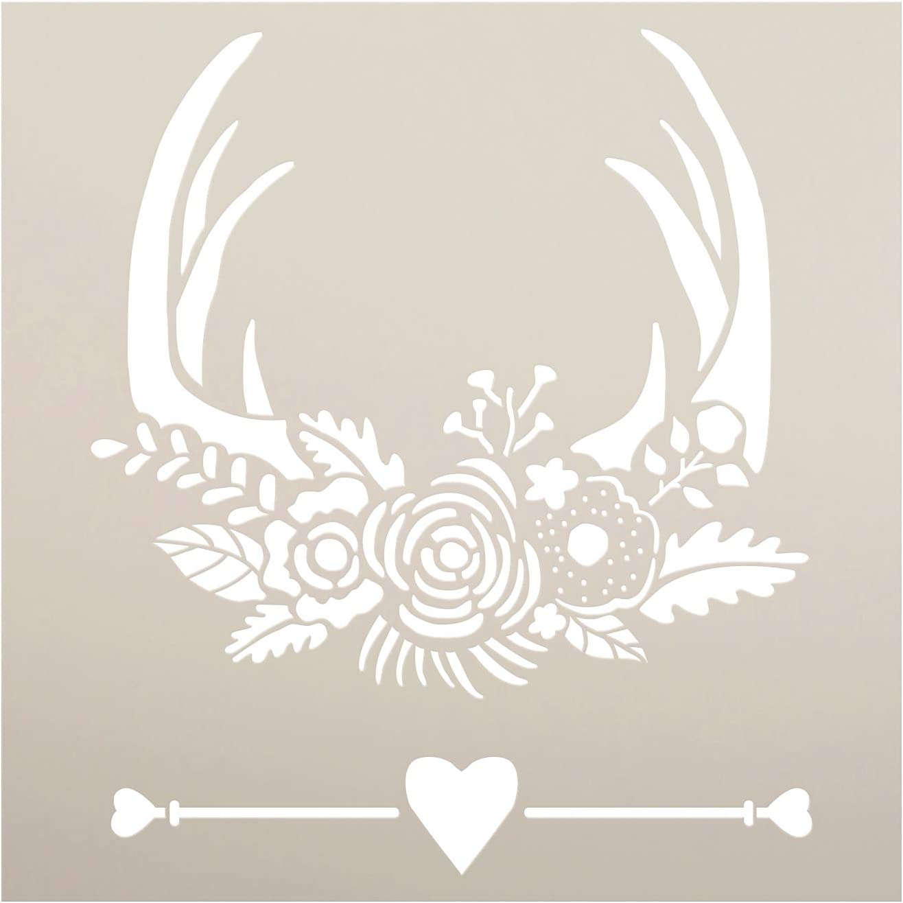 """Deer Rack with Flowers & Antlers Stencil by StudioR12 