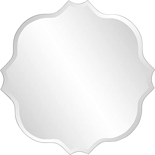 Howard Elliott Frameless Scalloped Hanging Wall Mirror, Square 36 Inch , Silver – Bathroom, Vanity, Bedroom