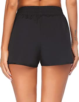 Tremaker High Waist Yoga Shorts for Women Tummy Control Athletic Workout Running Gym Shorts with Side Pockets