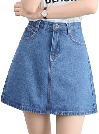 Mujeres Casual Mini Faldas Cintura Alta Corta Falda De Mezclilla ...
