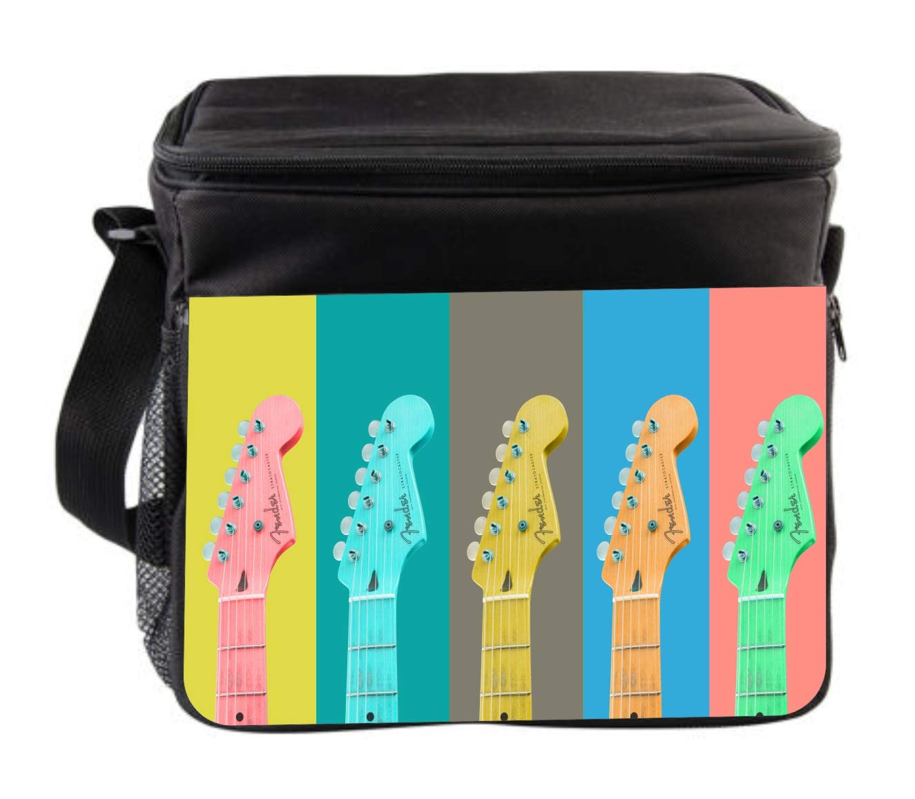 Rosie Parker Inc. Retro Music Guitars Cross Body Thermal Cooler Bag for Travel by Rosie Parker Inc.