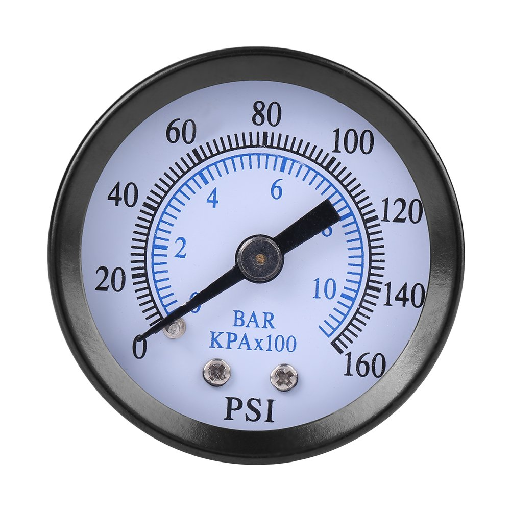 Dual Scale Pneumatic & Hydraulic All Purpose Mini Pressure Gauge for Fuel Air Oil Water 0-160psi/0-10bar 1/8' NPT Thread Hilitand