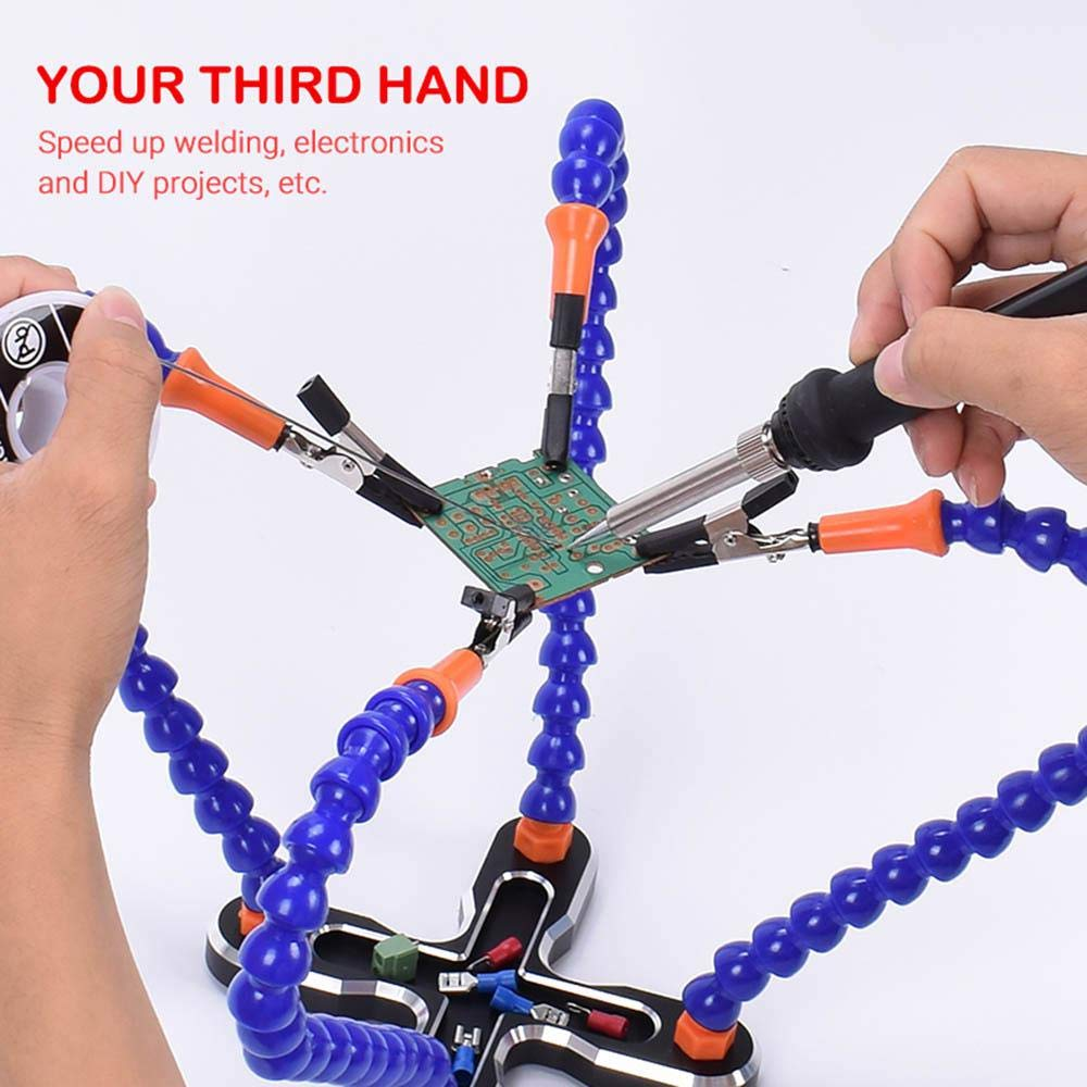 4 Flexible Arms Soldering Station with Swiveling Alligator Clip for Soldering Repair Electronics Crafts Volwco Third Helping Hands Soldering Tool Modeling