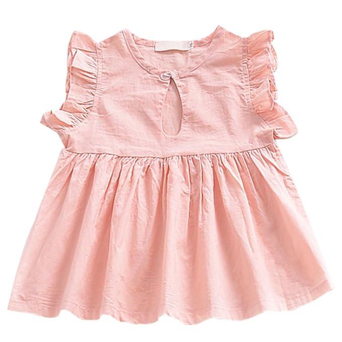 Hzjundasi Verano Bebé Chicas Manga de volantes Cuello redondo Rosa Vestido Color sólido Niños Niñito Infante Algodón Chaleco Ropa Falda plisada: Amazon.es: ...