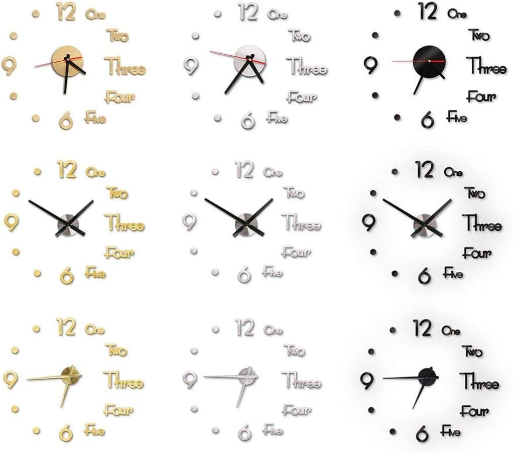 L Perforated Wall Sticker Clock DIY European Simple Clock Mute Wall Clock Black