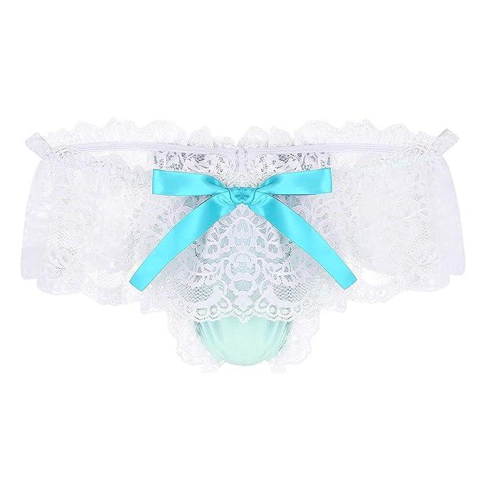 380885568 iiniim Mens Soft Shiny Satin Ruffled Frilly Lace Sissy Skirted Bowknot  Panties Jockstrap Crossdress G-String Thongs Underwear  Amazon.co.uk   Clothing