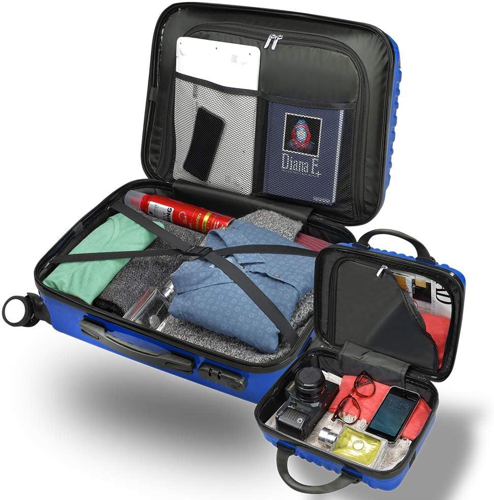Bleu GridinLux Set de Voyage l/égers R/ésistents Set de valises et Trousse de Toilette