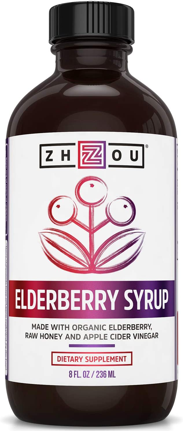 Zhou Nutrition Elderberry Syrup - Organic Sambus Black Elderberry, Raw Honey, Apple Cider Vinegar & Propolis - Immune System Booster During Cold Winter Months: Health & Personal Care