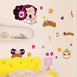 Cartoon Girl Wall Stickers Children Room Home Decor Baby Adhesive for Kids Room